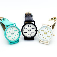Bow print strap watch (3 colors)