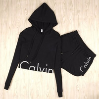 [FREE SHIPPING] Two Pieces Suits Brand Tracksuit Set Long Sleeve Hooded Sweatshirt Crop Top Hoodies
