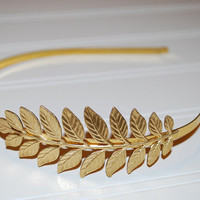 Garden Leaf Golden Greek Goddess Headband Gold Plated