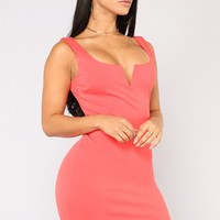 Elise Lace Up Dress - Coral