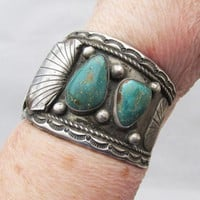 Spectacular 1960's Vintage Old Pawn Navajo Sterling Silver & Royston Turquoise Watch Cuff Bracelet