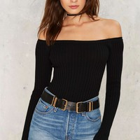 Barrett Off-the-Shoulder Ribbed Top - Black