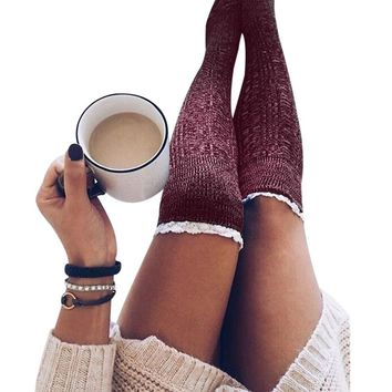 Women Stockings Knit Thigh High Lace Patchwork Long Stockings Knitted Girls Ladies Over the Knee Socks
