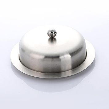 Realand Good Quality Premium Stainless Steel Round Butter Dish Box Container Elegant Cheese Server Storage Keeper Tray