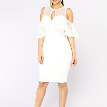 Telling Your Secret Midi Dress - White