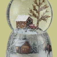 "2  Winter Bridge Snow Globes - Plays  "" Over The River And Through The Woods """