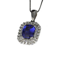 Ready to be shipped Tanzanite Pendant Necklace 14K White gold Cluster 2 diamond frames