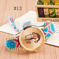 Fashion Braid Watch Friendship Bracelet Watches Woven Wool Monkey Quartz Wrist Watch = 1956310276