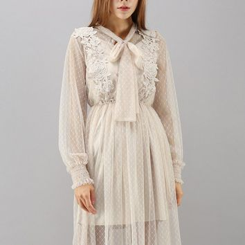 Flowers with Dots Crochet Mesh Dress in Cream