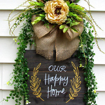 Home sign, wood signs, wall decor, floral swags, family sign, new home gift, floral door hanger, wreath signs, new home housewarming gift