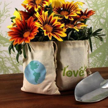 Eco Organic Cotton Drawstring Favor Bag Green LOVE Print (Pack of 12)