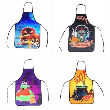 Halloween Aprons Black Cat Witch Skull Pumpkin Printing Adult Kitchen Apron Dinner Festival Party Cooking Apron Cuisine Children