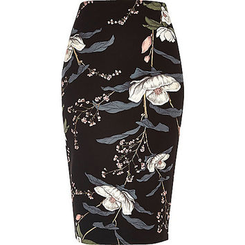 Black floral print long length pencil skirt - midi skirts - skirts - women