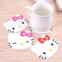 Hello kitty silicone Anti Slip Kawaii Cup Mat Dish Bowl Placemat Coaster Base Kitchen Accessories Cozinha Home Decoration Zakka