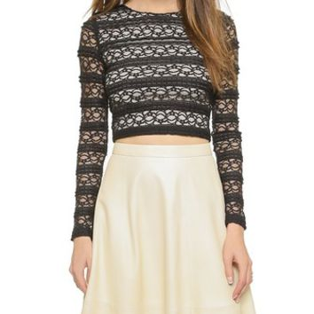 alice + olivia Rilo Long Sleeve Crop Top