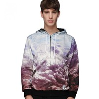 Autumn and winter 3D white cloud digital printing men's trendy cardigan hooded sweater