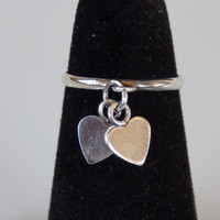 925 Sterling Silver Adjustable Toe Ring Double Hearts