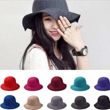 England Style Solid Autumn&Winter woolen Hats for Women Fashion Outdoor Beach Sun Hat Candy Color Newest Casual Woman's Caps