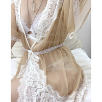 Chelsea Cross-back Sheer Robe - Ballet/White 💓LAST CHANCE💓