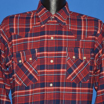 80s Dee Cee Plaid Pearl Snap Button Down shirt Large