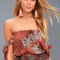 Phoenix Rusty Rose Floral Print Off-the-Shoulder Top