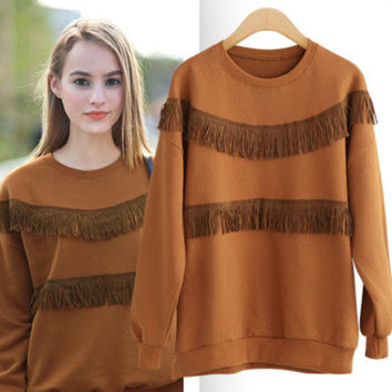 Plus Size Women's Fashion Tassels Patchwork Autumn Round-neck Long Sleeve Sweater [9068280388]
