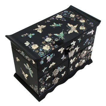 Mother of Pearl Art Inlay Korean Lacquer Wood Butterfly Drawer Jewelry Ring Display Trinket Keepsake Treasure Box Case Organizer