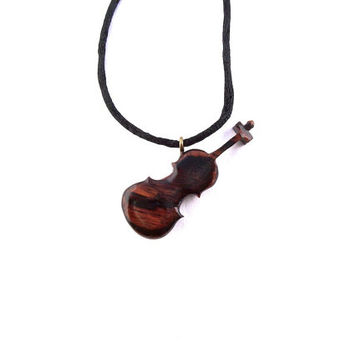 Wood Jewelry, Wooden Violin Pendant Necklace, Wood Carved Pendant, Violin Necklace, Violin Jewelry, Wooden Violin Pendant, Wooden Jewelry