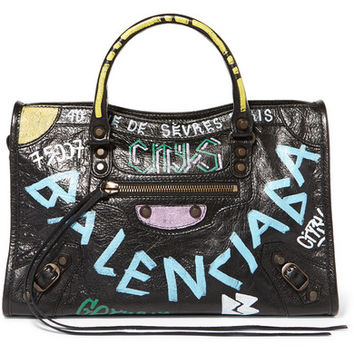 Balenciaga - Classic City printed textured-leather tote