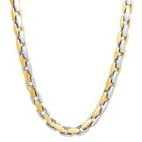 """Men's Two-Tone Square Link Chain in Stainless Steel, 24"""" - Necklaces - Men's Jewelry - Jewelry - Helzberg Diamonds"""