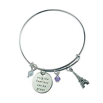 Art Attack Silvertone Only Fearless Can Be Great Paris Eiffel Tower Beaded Charm Expandable Bracelet