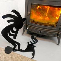 Metal Kokopelli Sculpture, Kokopelli Silhouette, Black Free Standing Kokopelli