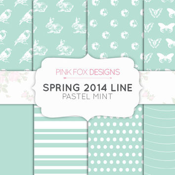 Mint Pastel Digital Paper Spring Paper Easter Green Blue Digital Bunny Scrapbook paper daisy flower bird butterfly clip art craft paper
