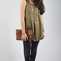 chasing the sun suede tank top - olive