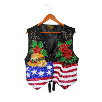 Ugly Christmas Sweater Party Plus Size Christmas Sweater XL Ugly Holiday Sweater Tacky Christmas Sweater Ugly Christmas Vest Sequin