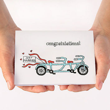 Wedding Congratulations Card. Just Married Bike. Turquoise, Agua, Red. Blank Wedding Card.