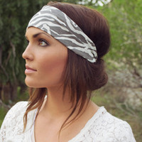 Expandable Headwrap-Fabric Two (Grey and White Chevron)