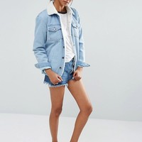 Daisy Street Tall Denim Jacket With Faux Shearling Trim at asos.com