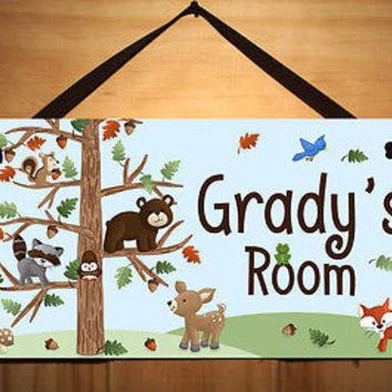 Kid Door Sign Forest Woodland Animal Friend Bedroom Personalized Name DS0119