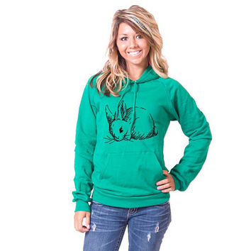 Snuggle Bunny American Apparel Pullover Hoodie by rainbowswirlz