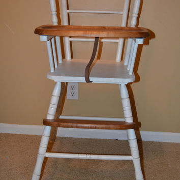 High Chair, Hand Painted High Chair, Painted Wooden High Chair, Refinished High Chair