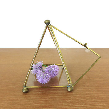 Brass and glass pyramid box