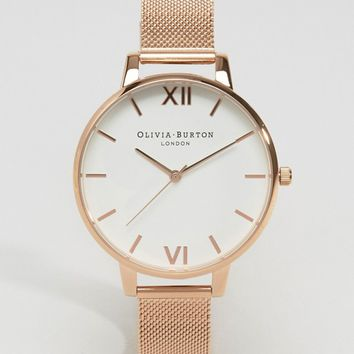 Olivia Burton Rose Gold Big Dial Mesh Watch at asos.com