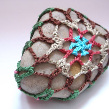 Floral Mandala Stone, Crocheted Lace Stone, Lace Covered Rock, Crochet Mandala, Brown Pink Blue, Cottage Chic Decor, Boho Home Decor