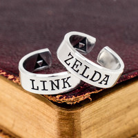 Link and Zelda Ring Set - Legend of Zelda - Triforce - Best Friends - Couples Ring Set