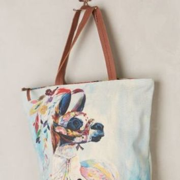 ANTHROPOLOGIE ADORNED LLAMA PURSE TOTE MISS ALBRIGHT Starla Michelle Halfmann