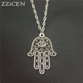New Good Luck Protection Turkish Hamsa Symbol Fatima Hand Evil Eye Pendant Long 70cm Metal Chain Necklace Women Men Lucky Amulet