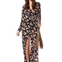 Long Sleeve Sheer Chiffon Dress With Floral Print