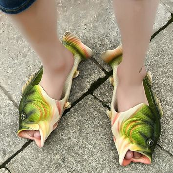 Creative type fish slippers man Handmade Personality fish sandals men bling flip flops slides fish beach slippers
