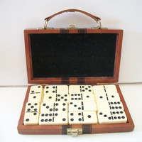 Vintage Dominoes in Brown Case